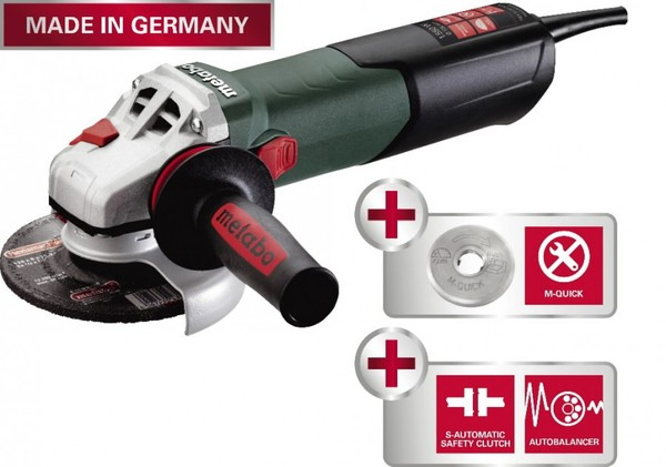 METABO LEŅĶA SLĪPMAŠĪNA WEA 15-125 QUICK, AUTOBALANCER  Specifikācija Metabo Quick-System; MVT side handle; Constant electronics TC (Tacho Constamatic); Soft start / starting current limitation; No-volt release switch; Overload protection;  Scope of delivery: Protective Cover, Inner Support Flange, Quick Flange Nut.  Cena 230.00 Bez Atlaides