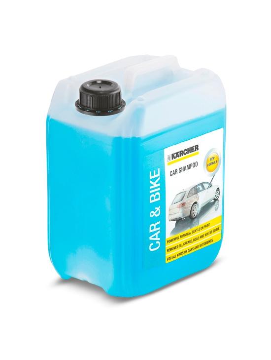 Automašīnas šampūns Kärcher 5L  Specifikācija Auto, moto un velo transporta tīrīšanas līdzeklis izmantošanai ar augstspiediena mazgātāju.  Svars 5.0  Cena par 1L 2.60 EUR