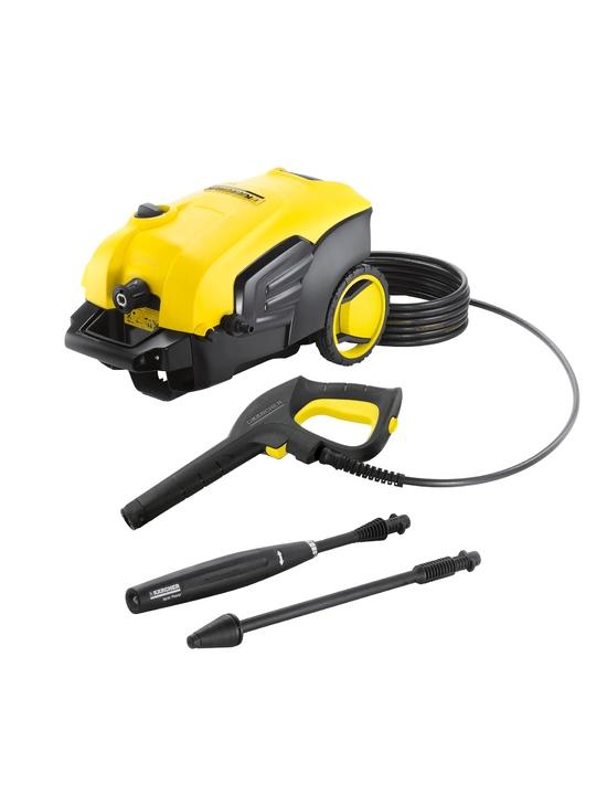 Augstspiediena mazgātājs Karcher K5 COMPACT  Specifikācija K5 Compact augstspiediena tīrītājs - ideāls risinājums laiku pa laikam attīrīt virsmas no vidējas netīrības. Iekārta piemērotavieglo automašīnu, velosipēdu, sienu tīrīšanai. Iekārta aprīkota ar jaudīgu ūdensdzesētu dzinēju. Aprīkojumā: Quick Connect pistole (ātras savienošanas savienojumi), 8 m augstspiediena šļūtene vieglāi izmantošanai, Vario Power sprausla (VPS) ērtai ūdens spiedeina regulācijai un dubļu frēze noturīgiem netīrumiem. G