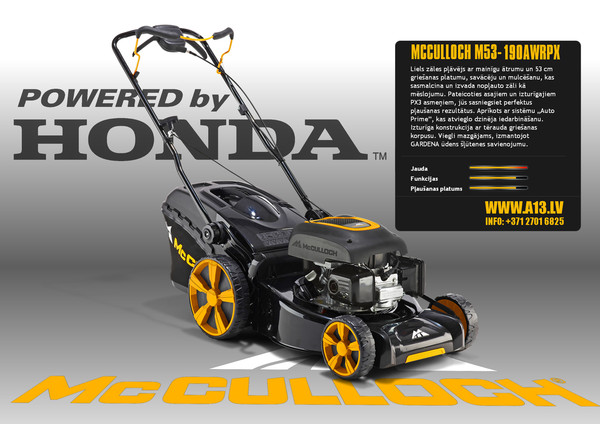 Zāles Pļāvējs MCCULLOCH M53-190 AWRPX pašgājējs ar Honda dzinēju un savācējgrozu  Specifikācija Dzinējs: HONDA GCV190. Tilpums 187 cm³. Tīrā jauda pie esošajiem apgriezieniem 3.4 kW @ 2900 apgriez./min. Bākas ietilpība: 0.9 lit. Transmisijas sistēma: MAināms ātrums. Savācējgrozs: ir komplektācijā, 60 lit. Mulčēšanas aprīkojums: iekļauts. Garantija 2 gadi.  Svars 38.5 kg Jauda 3.4kW  Pļaušanas Platums 53cm  Piedziņa Aizmugurējā, Pašgājējs, Maināms ātrums.  Cena 640.00 bez atlaides