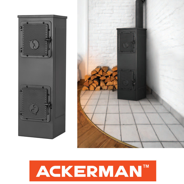 Malkas kamīnkrāsns ACKERMAN W5C 5KW  Kurināmais materiāls Malka, granulas, ogles, briketes.  Garantija 2 gadi.  Jauda 5.0 kW Kapacitāte 50/125 m2/m3 Svars 58.0 kg Izmērs 288 x 885 x 370 mm Skursteņa izvads 120 mm