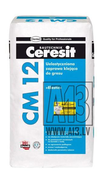 Flīžu Līme Ceresit CM 12 Elastic 25kg  Specifikācija CM 12 paredzēta keramikas flīžu, cementa un akmens flīžu (izņ. marmora) un akmens masas flīžu uzstādīšanai gan iekštelpās, gan ārpus telpām. Ar līmjavu flīzes var pie  9.80