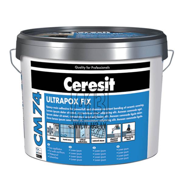 Divkomponentu Elastīgā Flīžu Līme Ceresit CM74 8kg  Specifikācija Ceresit CM 74 ir paredzēta keramikas flīžu, skābes izturīgu ķieģeļu, plēstu plātņu, skaidu plātņu, porcelāna, klinkera flīžu un ar sintētiskajiem sveķiem līmēto plātņu (Agglo-marmor u.c.) pastāvīgai un ķīmiski noturīgai līmēšanai un šuvošanai. Keramikas materiālu līmēšanai un šuvošanai uz virsmām, kas saskaras ar agresīvām vielām (piemēram, ārstnieciskajās vannās, pienotavās, virtuvēs, peldbaseinos, laboratorijās, spa, parastajās