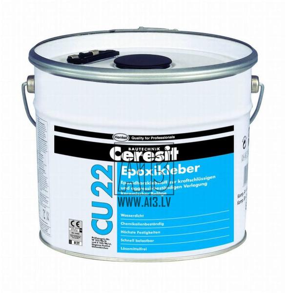 Ķīmiski Noturīgā Flīžu Līme Ceresit CU22 25kg  Specifikācija Ceresit CU 22 - ūdensizturīga un ķimikāliju izturīga ļoti liela izturība; nesatur šķīdinātāju; patēriņš: špakteļlāpstiņa ar 4 mm zobojumu - 2,2 kg/m²; CU 22 lieto keramikas un akmens flīžu (t.sk. marmora), tāpat stikla mozaīku uzstādīšanai. To var lietot arī klinkera un skaidu plātņu piestiprināšanai. CU 22 var izmantot gan iekštelpās, gan ārpus telpām. Šī flīžu līmjava ir īpaši piemērota lietošanai vietās ar pastāvīgu mitruma iedarbīb