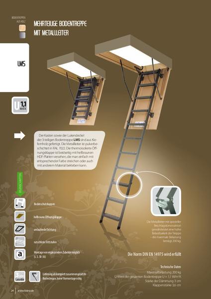 3-daļīgas metāla bēniņu kāpnes