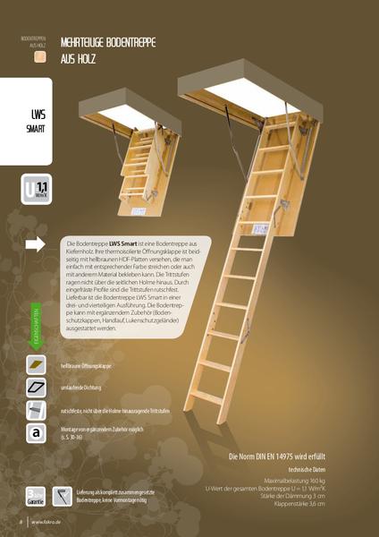 3-daļīgas koka bēniņu kāpnes F