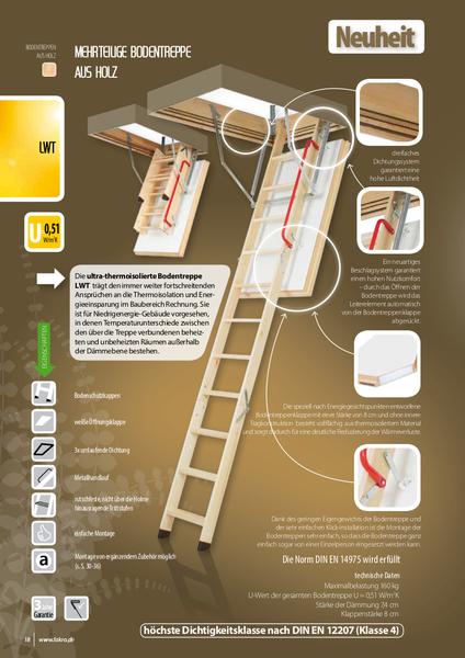 3-daļīgas koka bēniņu kāpnes FAKRO LWT 70*130/305 Izmēri 70x130 cm Telpas Augstums 305 cm Cena 342.00 Bez Atlaides