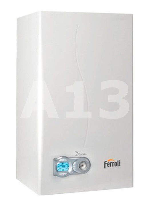 Gāzes Katls Ferroli DIVA - C24  Jauda 25.8 kW Izmērs 400x700x330 AxPxD Svars 27 kg Karstā ūdens ražība Δt 25°C 13.4 L/min  655.69