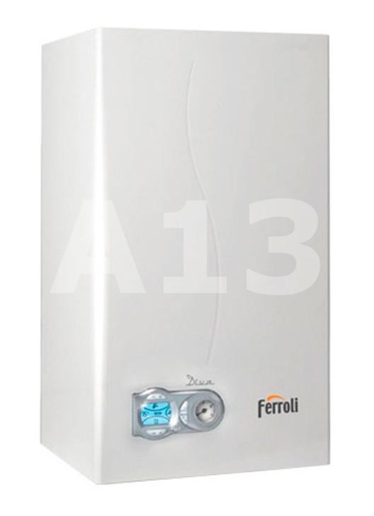 Gāzes Katls Ferroli DIVA - F24   Jauda 25.8 kW Izmērs 400x700x330 AxPxD Svars 32 kg Karstā ūdens ražība Δt 25°C 13.7 L/min  709.58