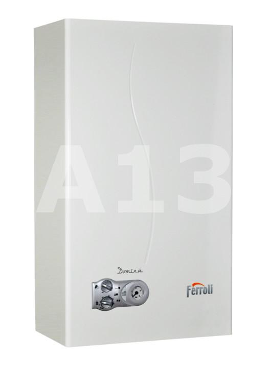 Gāzes Katls Ferroli Domina N - C24  Jauda 25.8 kW Izmērs 400x700x 230 AxPxD Svars 25 kg Karstā ūdens ražība Δt 25°C 13.4 L/min  485.03