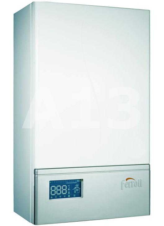 Elektriskais Apkures Katls Ferroli LEB 9.0 TS  Spriegums 9 kW Jauda 41 A Izplešanās tvertne 10 L Svars 29.5 kg Izmērs 440x740x265 PxAxD  592.82