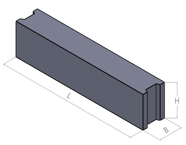 Pamatu Bloki FBS 12-4-6  garums L 1180 mm platums B 400 mm augstums H 580 mm