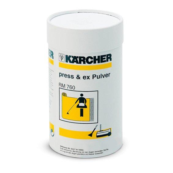 Tīrīšanas līdzeklis Kärcher RM 760, 800g  Specifikācija Pulverveida tīrīšanas līdzeklis mīksto segumu tīrīšanas iekārtām.  Svars 0.8