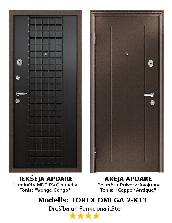 Metāla Durvis (ārdurvis) Torex Omega-2 ar MDF apdares paneli, K, 950*2050  Komplektācija Krāsa iekšpusē: Venge Kongo, MDF panelis ar PVC pārklājumu. Krāsa ārpusē: Copper Antique Brūns Pulverkrāsojums. Slēdzenes: 2 gab. Premium pretuzlaušanas Blockido 4. klase; Furnitūras krāsa - Hroms/Misiņš. Pretizcelšanas rīģeļi, dubultās blīvgumijas, metāla ekscentriķis, actiņa.  Izmērs 950*2050 mm Vēršanās Virziens Kreisais