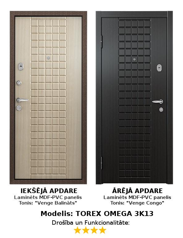 Metāla Durvis (ārdurvis) Torex Omega-3 ar 2 MDF apdares paneļiem, K, 950*2050   Komplektācija Krāsa iekšpusē: Venge Balta, MDF panelis ar PVC pārklājumu. Krāsa ārpusē: Venge Kongo, MDF panelis ar PVC pārklājumu. Slēdzenes: 2 gab. Premium pretuzlaušanas Blockido 4. klase; Furnitūras krāsa - Hroms/Misiņš. Pretizcelšanas rīģeļi, dubultās blīvgumijas, metāla ekscentriķis, actiņa.  Izmērs 950*2050  mm Vēršanās Virziens Kreisais