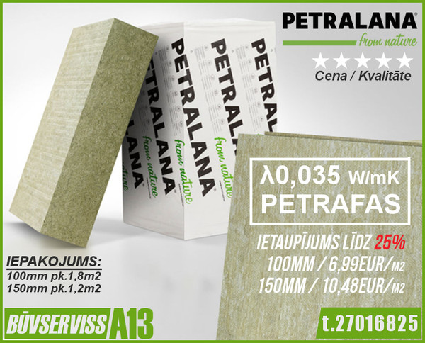 Fasādes Vate PETRAFAS 150x600x1000mm, 1,2m2/pk  Izmērs 150x600x1000 mm Iepakojumā 1.2 m2 Loksnes pakā 2 gab. Iepakojumi uz paletes 16 pak.