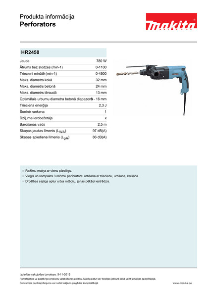 Perforators Makita HR2450 SDS-