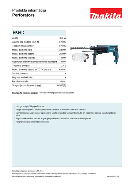 Perforators Makita HR2610 SDS-