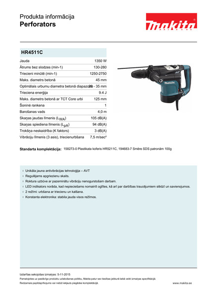 Perforators Makita HR4511C SDS