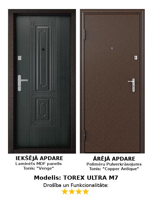 Metāla Durvis (ārdurvis) Torex Ultra M7 ar MDF paneli, K, 950*2050  Komplektācija Krāsa iekšpusē: Venge-Palisandrs, laminēts MDF panelis. Krāsa ārpusē: Copper Antique Brūns Pulverkrāsojums. Slēdzenes: 1gab. Border 3B 9-8 suvalda, 4. pretuzlaušanas klase; 1gab. Police suvalda 2.klase. Furnitūras krāsa - Hroms. Pretizcelšanas rīģeļi, dubultās blīvgumijas, metāla ekscentriķis, actiņa.  Izmērs 950*2050 mm Vēršanās virziens Kreisais