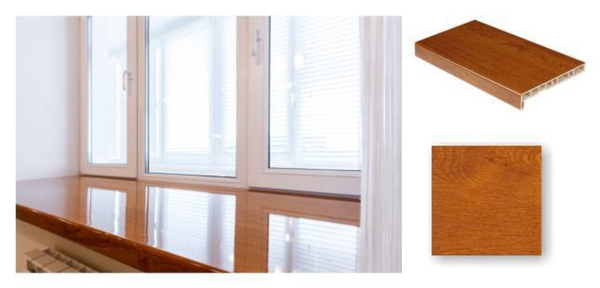 Zeltozola PVC Palodze Glancēta - Crystallit Golden Oak Gloss 450mm  Krāsa Zeltozols  Platums 450 mm